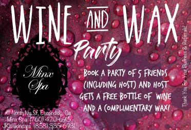 2018 Wine & Wax Party Flier